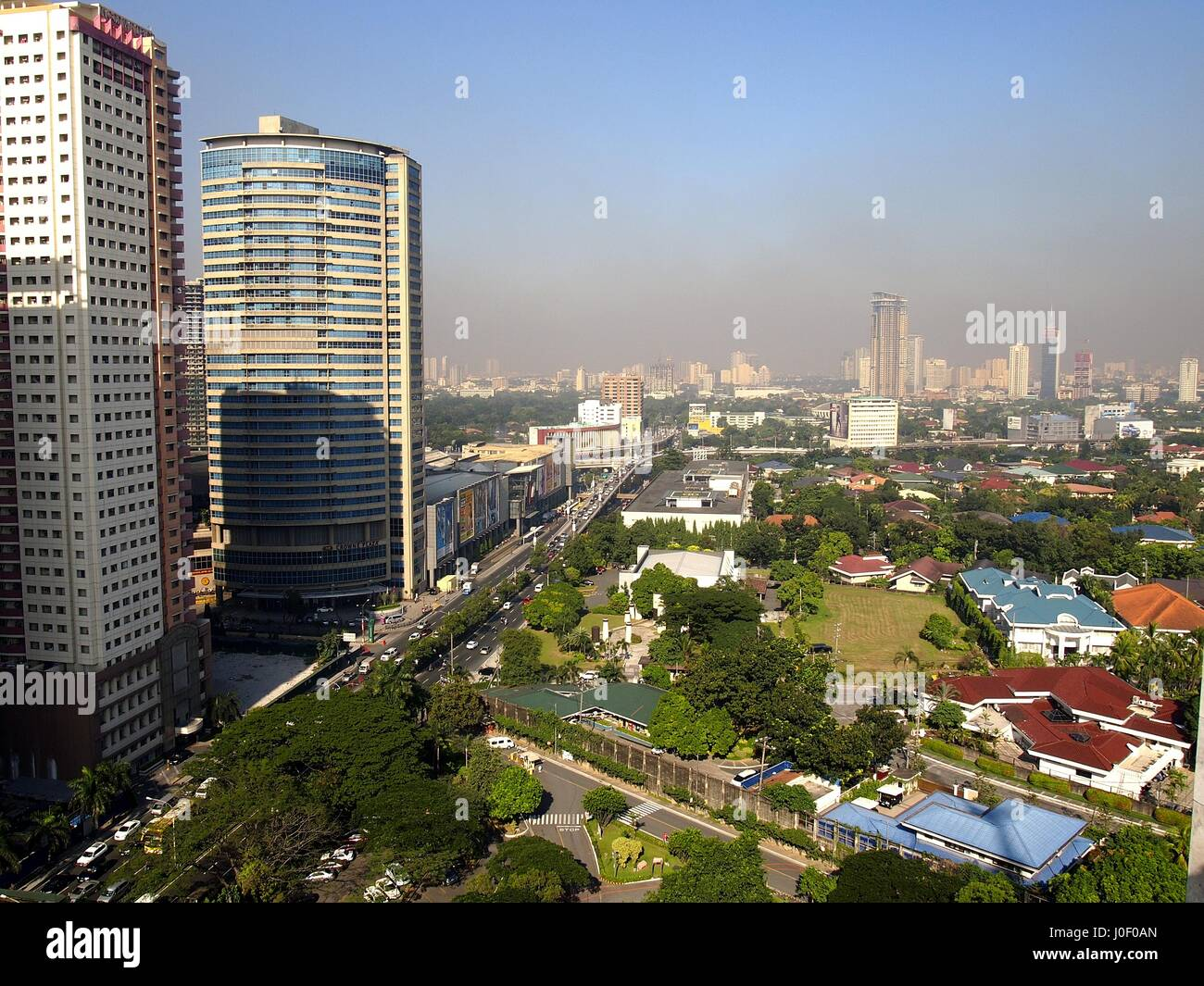 PASIG CITY, PHILIPPINES - JANUARY 14, 2016: Aerial view of Pasig City with building and skyscrapers - Stock Image