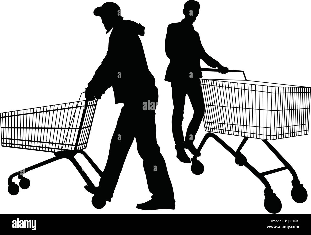Silhouettes of men with shopping trolleys - Stock Vector