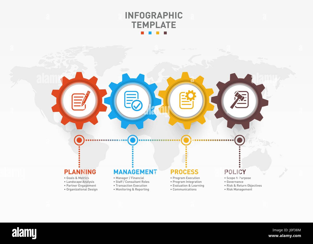 Vector Infographic Template With Gears And World Map Business And - Map policy template