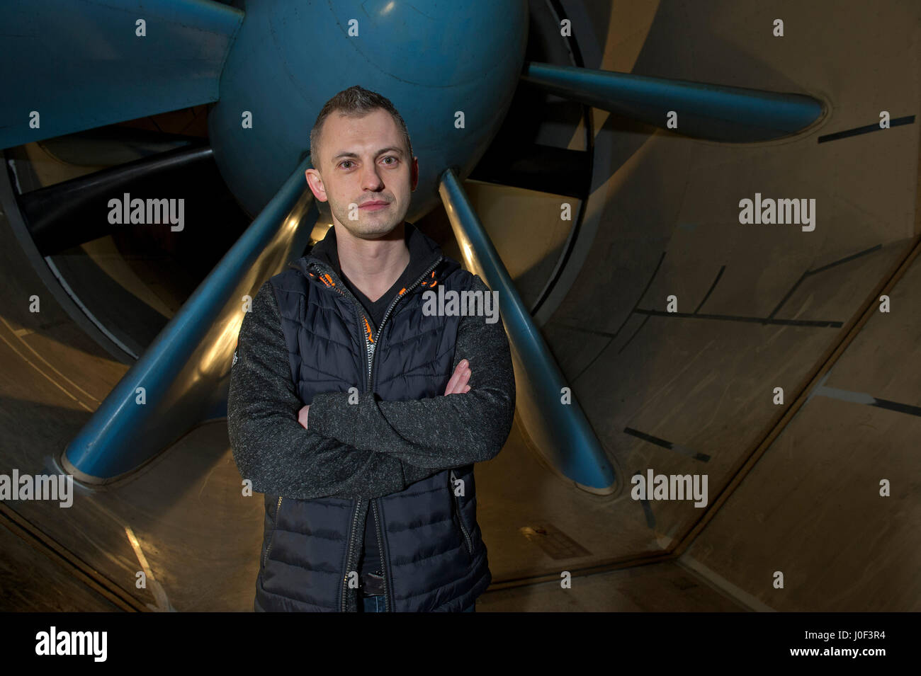 Paul Eremenko, CTO of Airbus Group, at Airbus Group, Filton, Bristol, UK, in the wind tunnel. - Stock Image