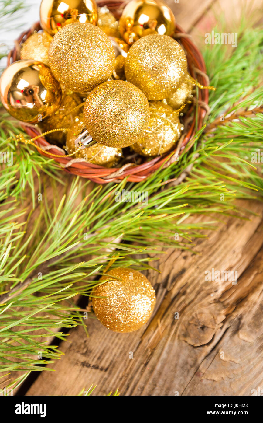 Christmas cards with golden shiny balls on wooden background Stock ...