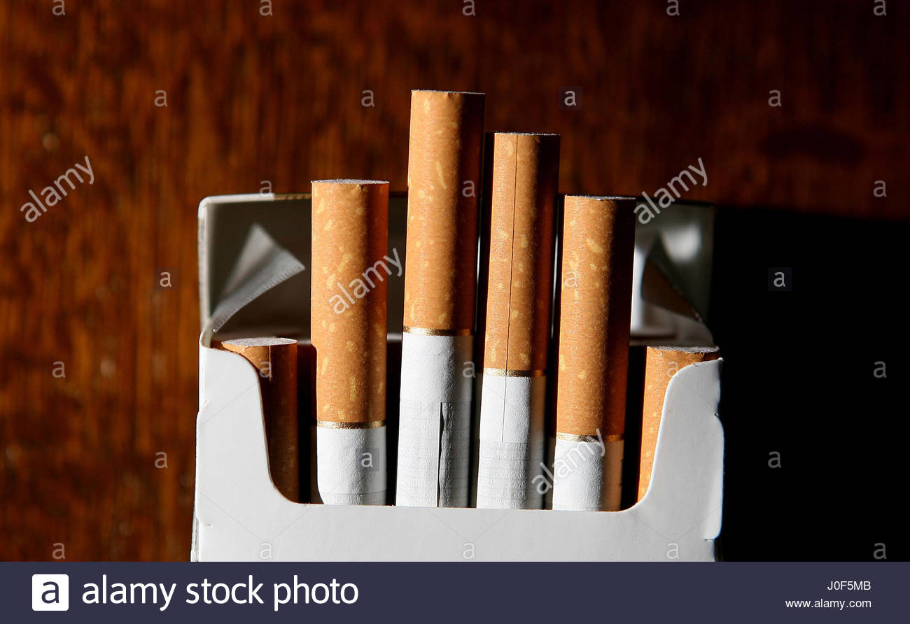 File photo dated 18/06/07 of a packet of cigarettes. It will be illegal to sell branded cigarettes from next month - Stock Image