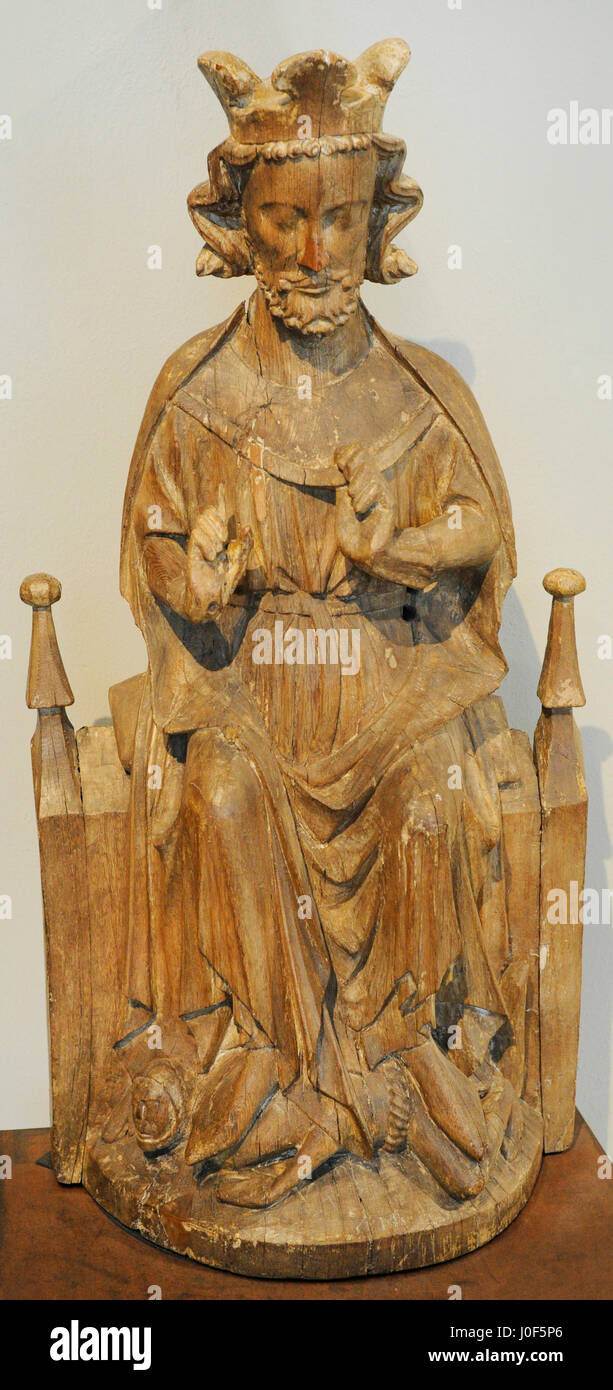 Olaf II of Norway (995-1030) or St. Olaf. King of Norway. Statue. Tanum church, Brunlanes, Vestfold, c. 1260-1280. - Stock Image