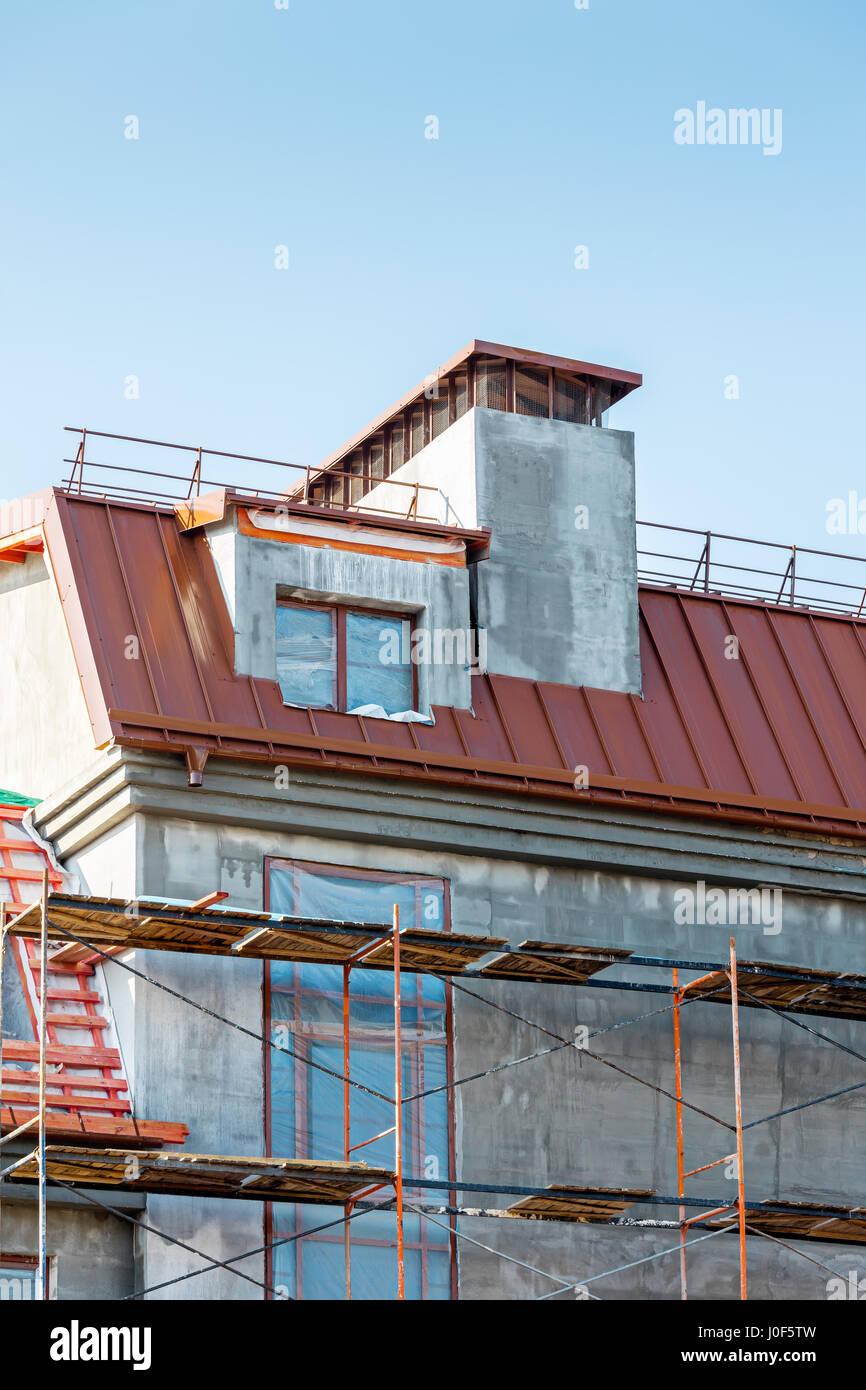 Dormer window building site stock photos dormer window for Building site house