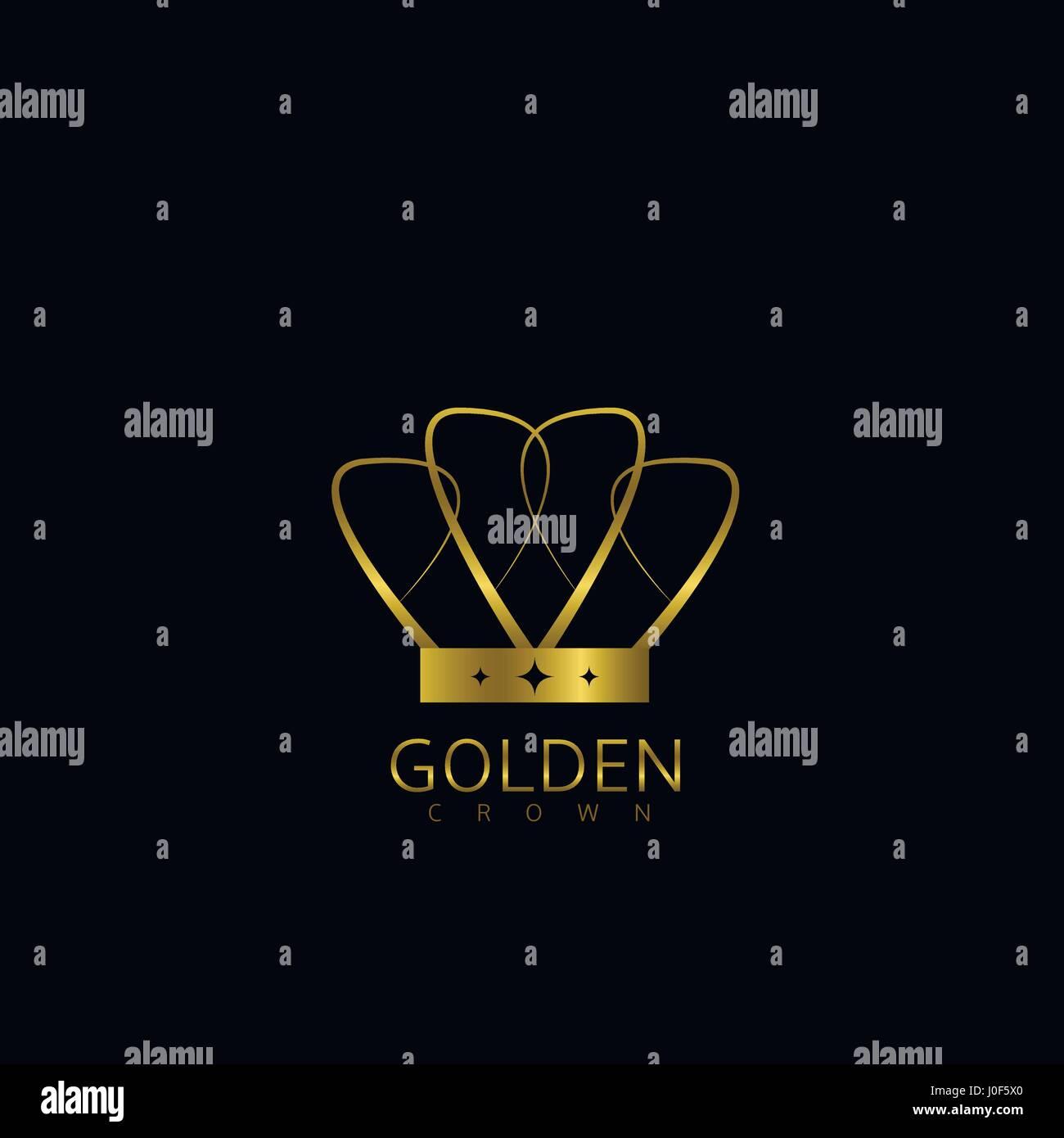 Golden crown label - Stock Vector