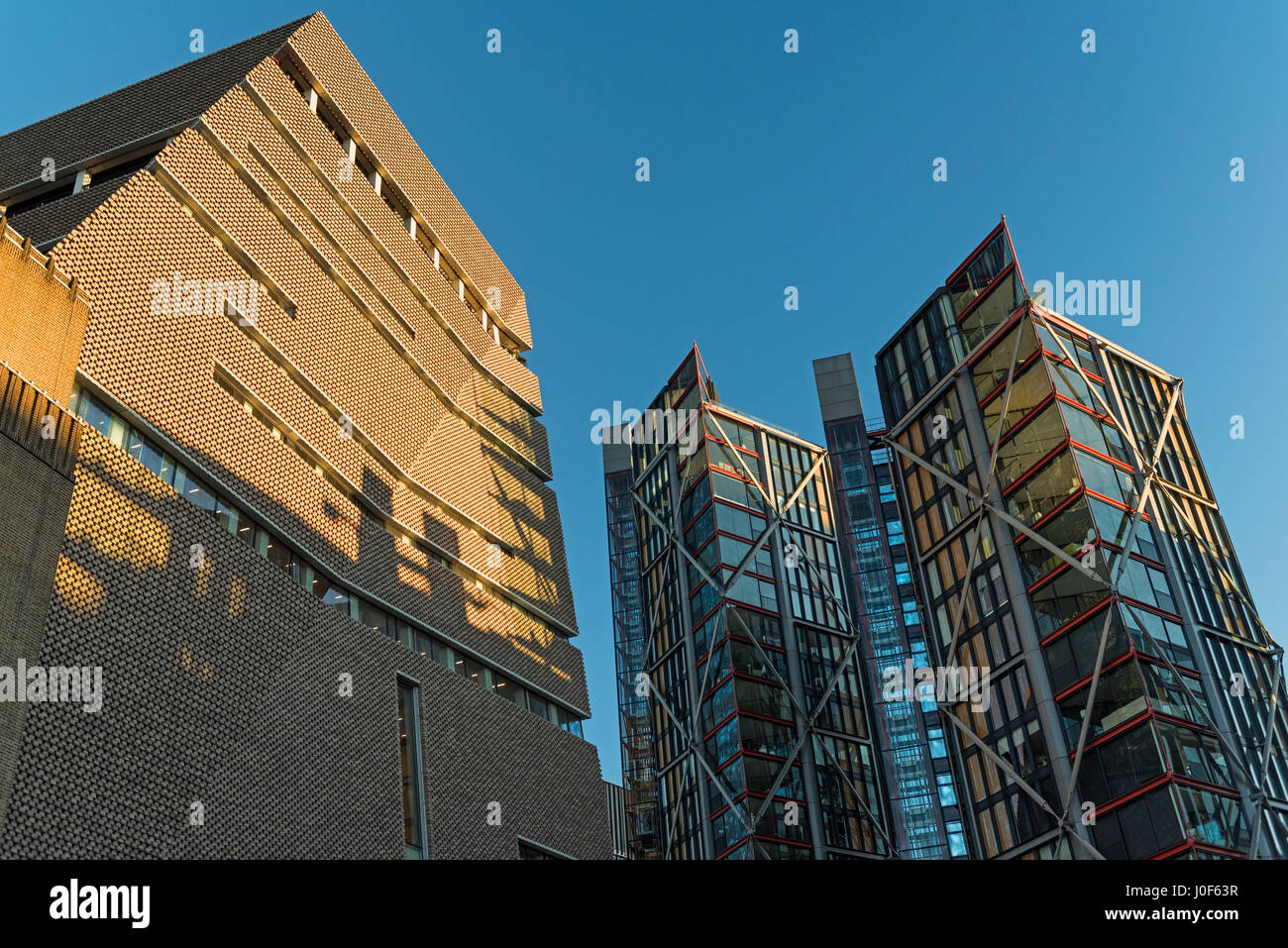 Tate Modern extension and Neo Bankside Apartments Southbank London UK - Stock Image