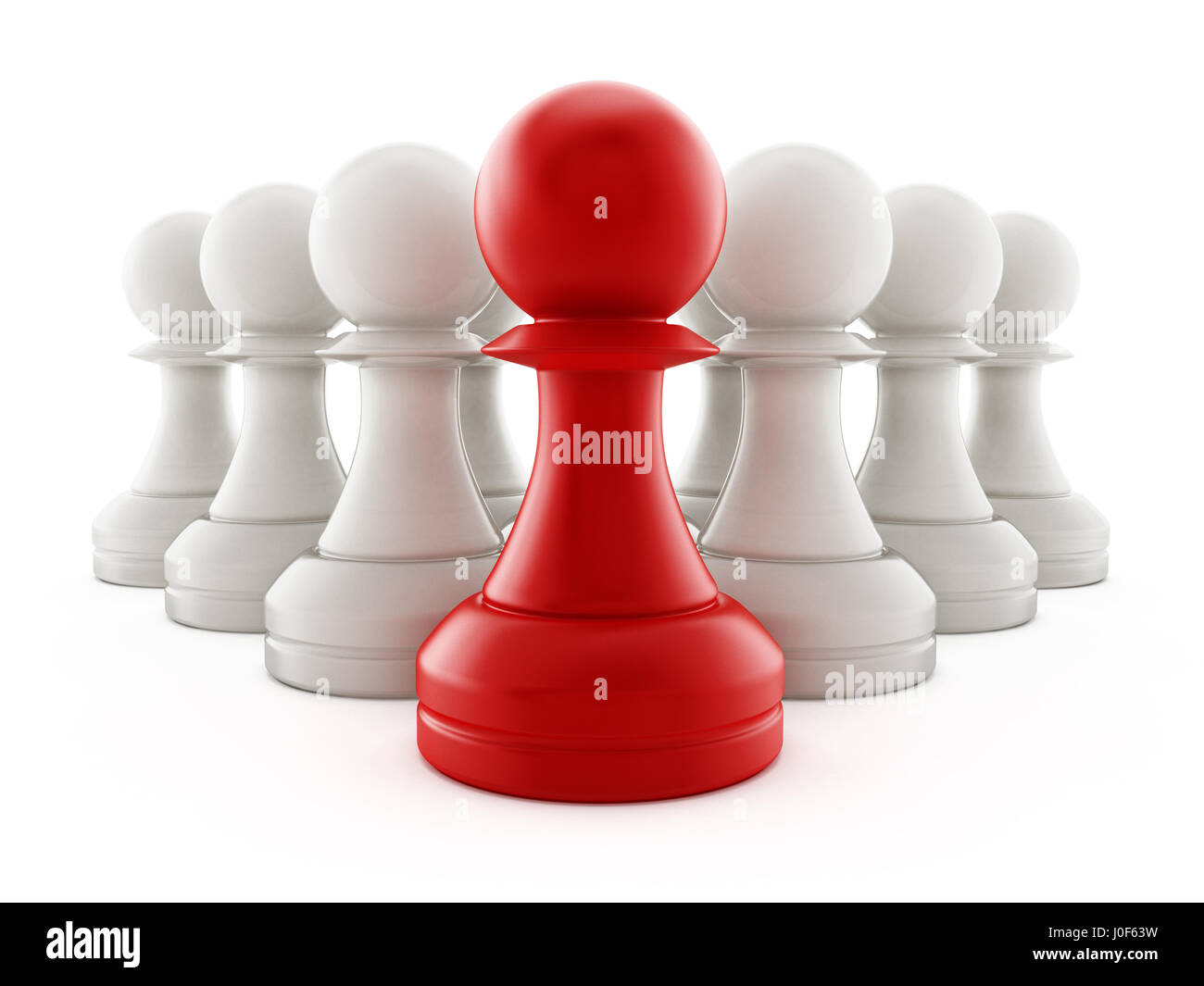 Red chess pawn standing ahead of white pawns. 3D illustration. - Stock Image