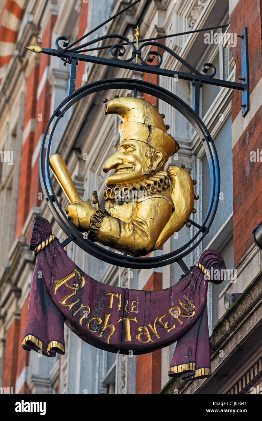 The Punch Tavern sign Fleet Street London UK - Stock Image