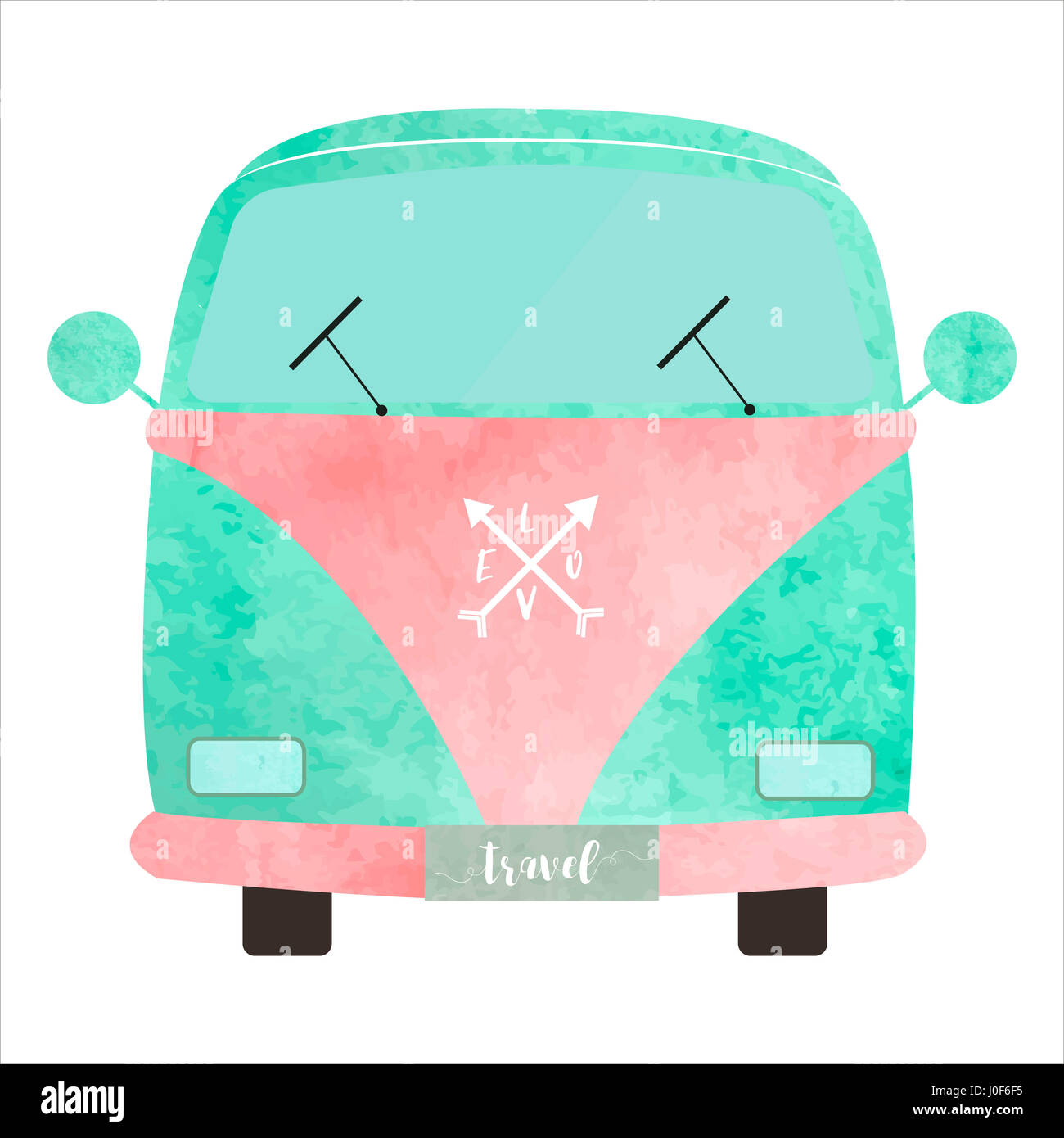 Love van with watercolor effect in blue and pink Stock Photo
