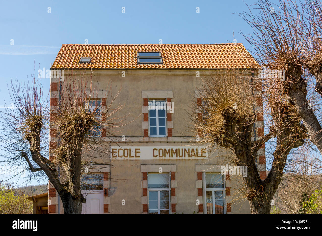 Communal school in Auvergne. France - Stock Image