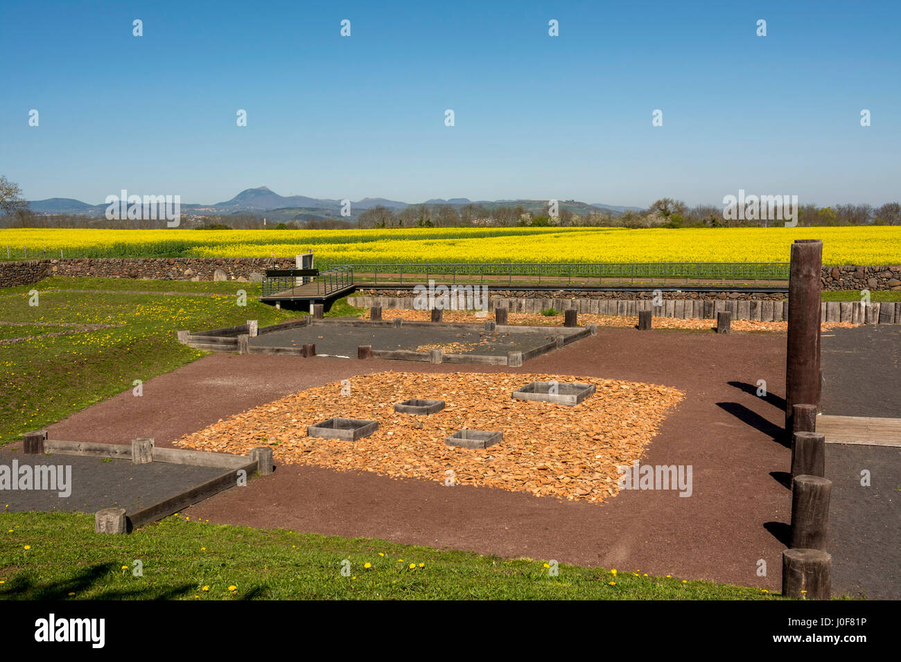 Gaul oppidum of Corent, archeological site, Puy de Dome, France, Europe Stock Photo