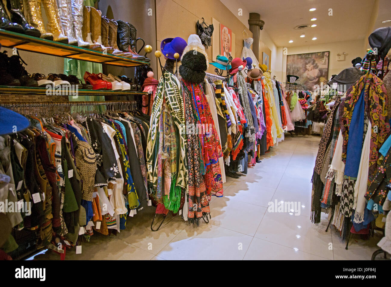 Reminiscence vintage clothing and knickknack store on Fifth Avenue in Greenwich Village, New York City - Stock Image