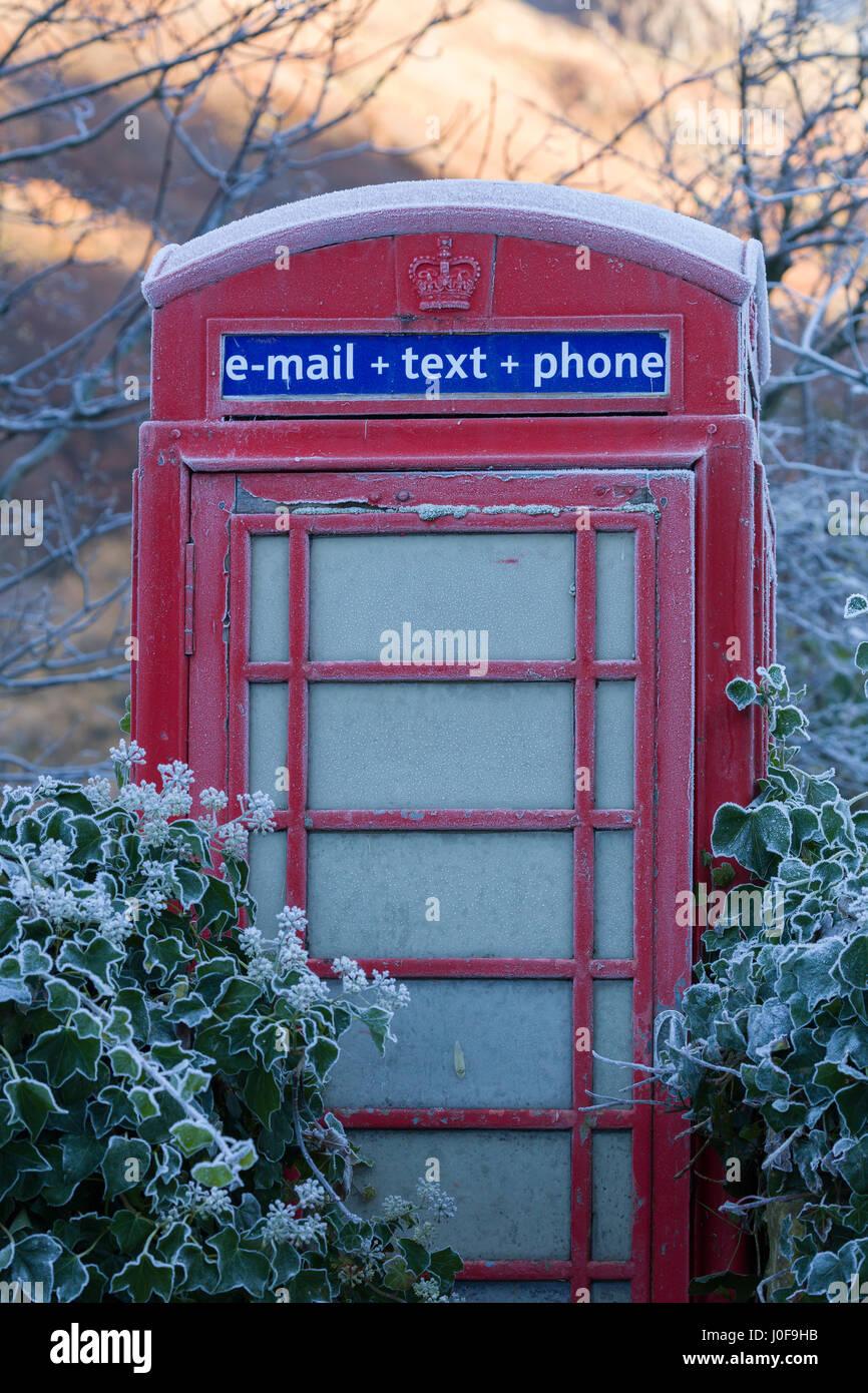 Red telephone box at Stonethwaite in Borrowdale UK - Stock Image