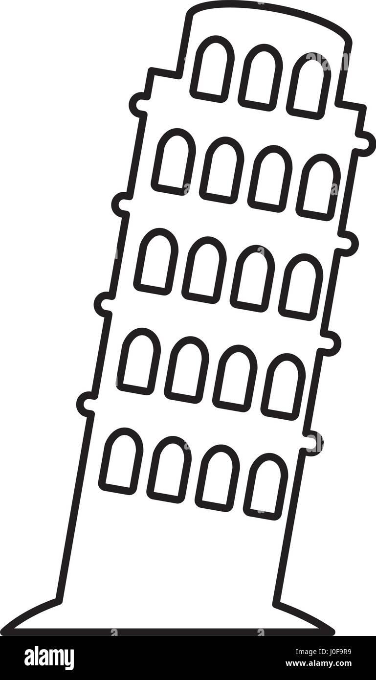 tower of Pisa icon - Stock Vector