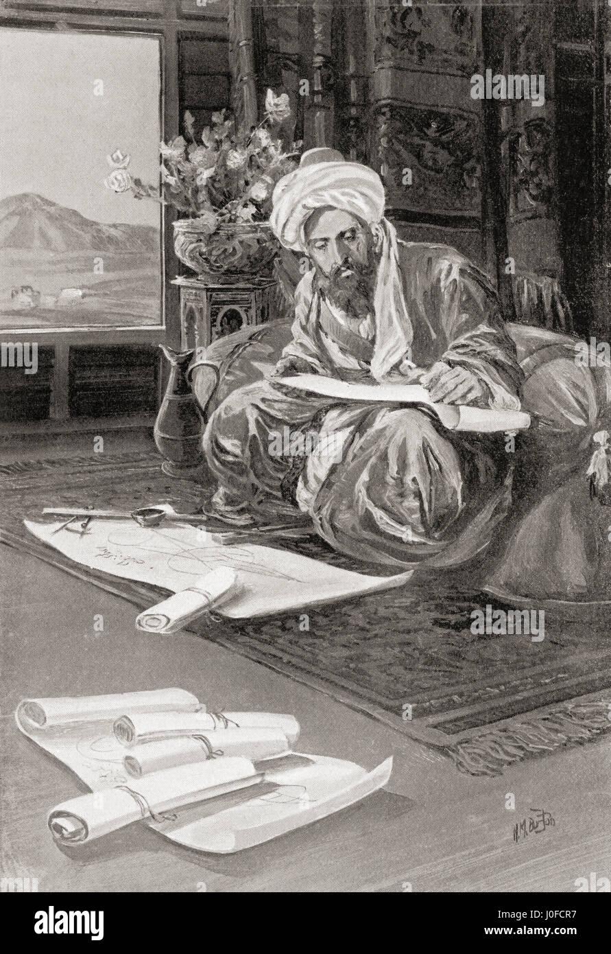 Omar Khayyám works out the calendar 1074AD. Omar Khayyám, 1048 – 1131.  Persian polymath, scholar, mathematician, - Stock Image