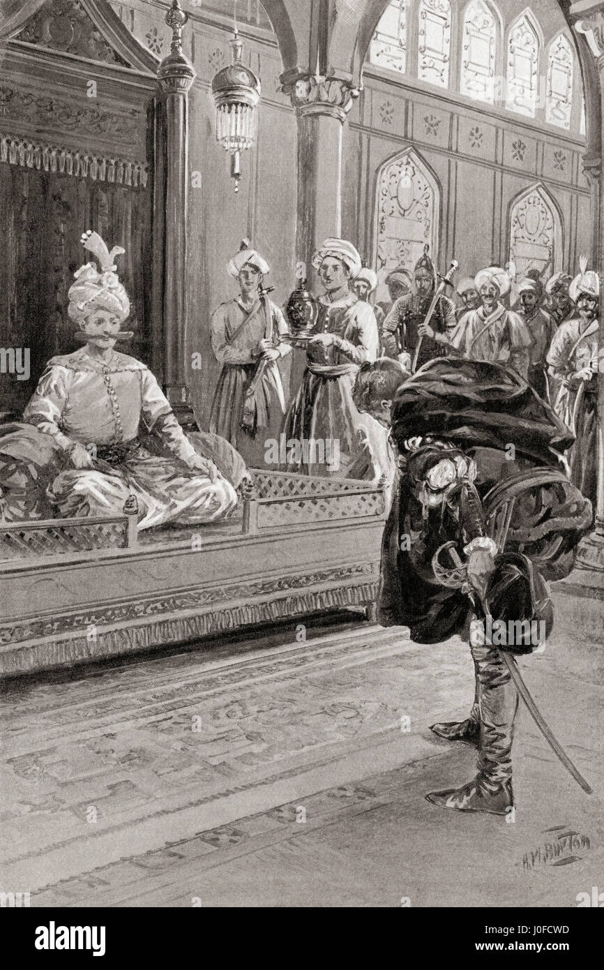 Sir Anthony Shirley visiting the court of Shah Abbas the Great, Persia in 1599, where he was made a Mirza or prince. - Stock Image