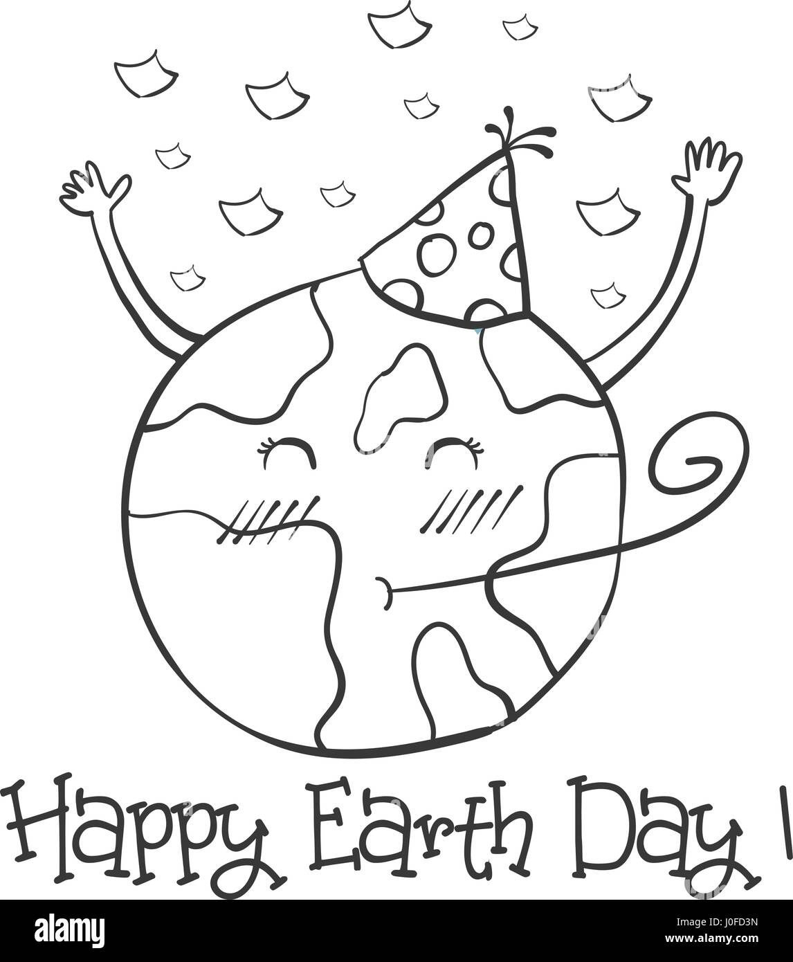 Hand draw Earth Day with world - Stock Image