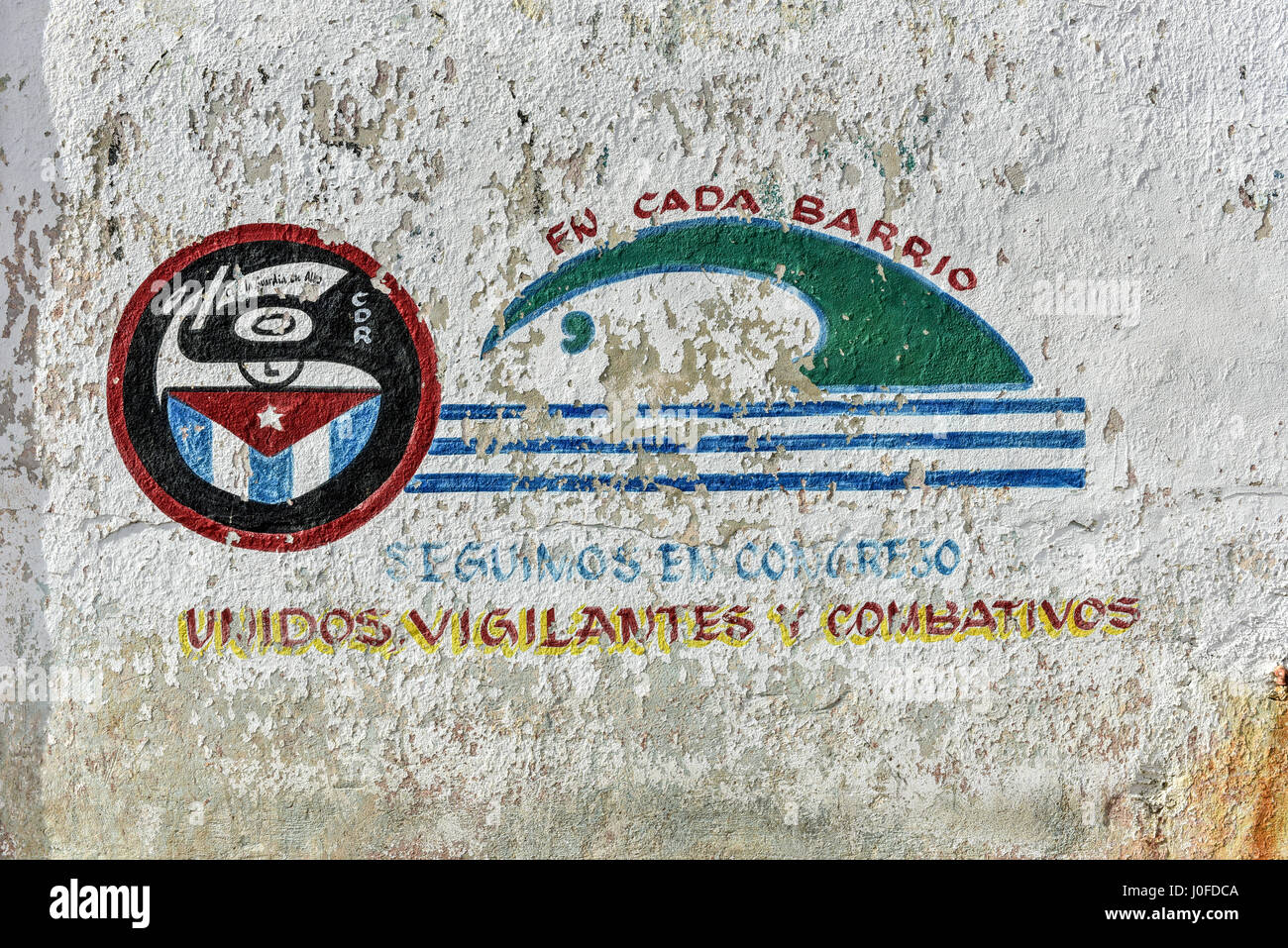 Revolutionary propaganda, CDR sign representing the Committee for the Defense of the Revolution in Havana, Cuba. - Stock Image