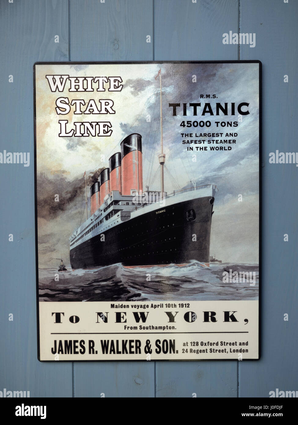Replica Poster advertising the first sailing of Titanic to ...