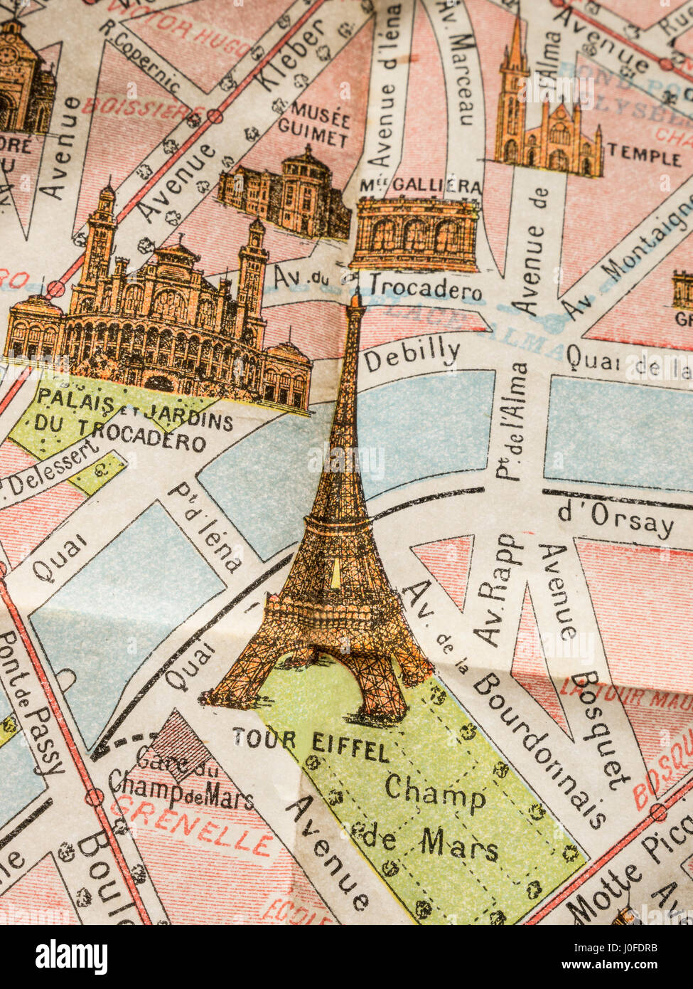 Fine print detail of rare 1900's vintage retro colour Monumental Map of Paris, featuring Eiffel Tower and Trocadero - Stock Image