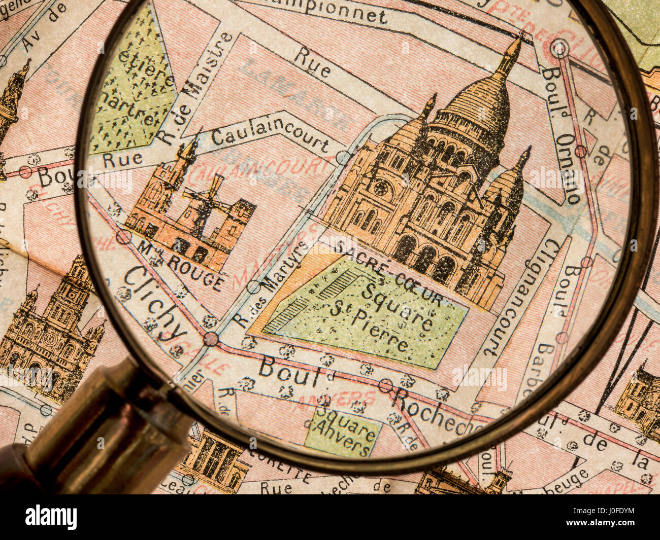 Old Paris Map Magnifying Glass Detail Of Vintage Monumental Map