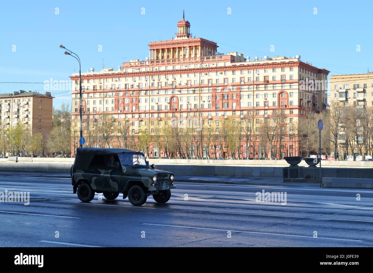 Street view with Stalinist architecture in Moscow. Stock Photo