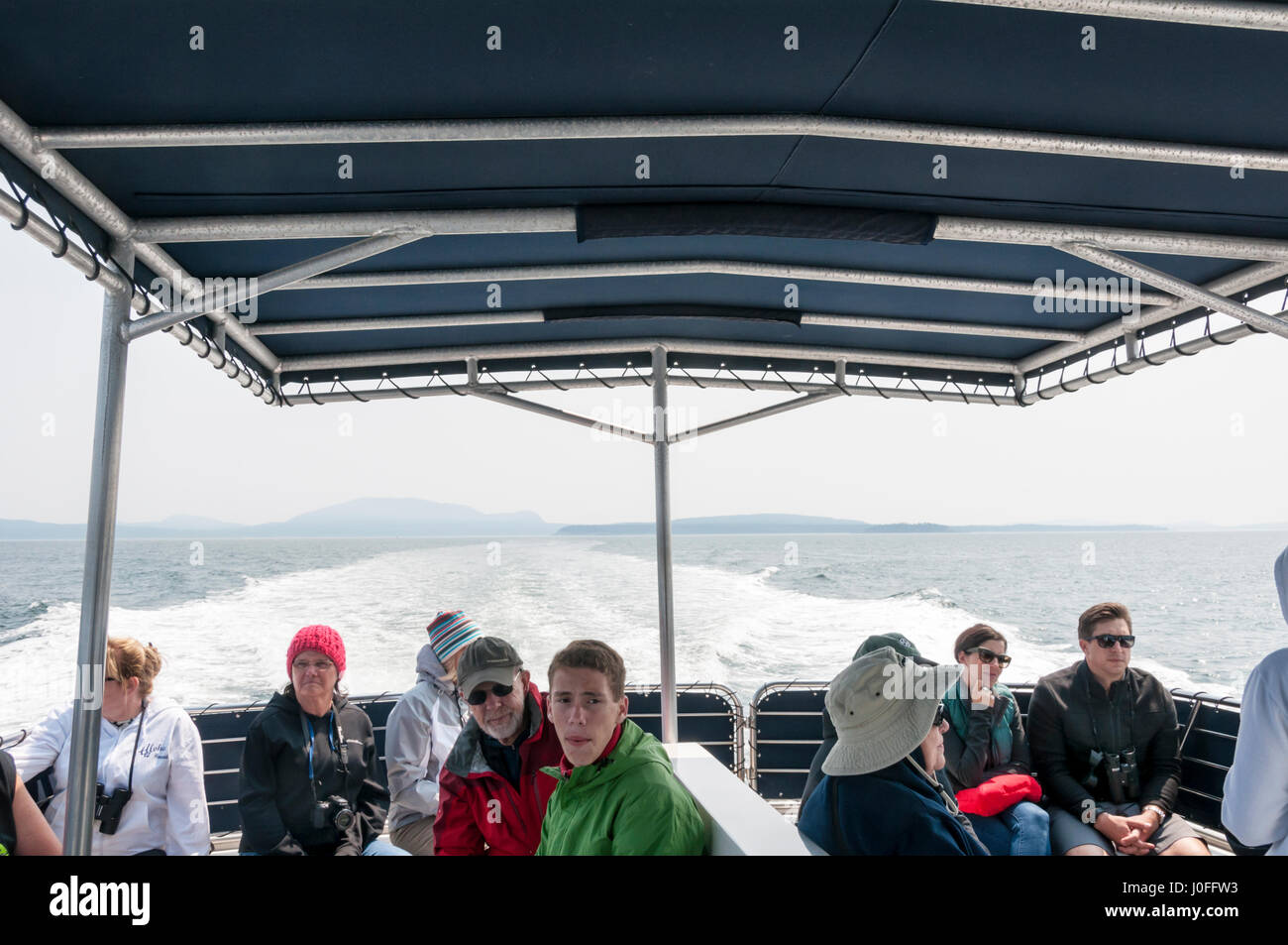 Tourists on a whale watching trip from Friday Harbor in the San Juan Islands, Washington, USA - Stock Image
