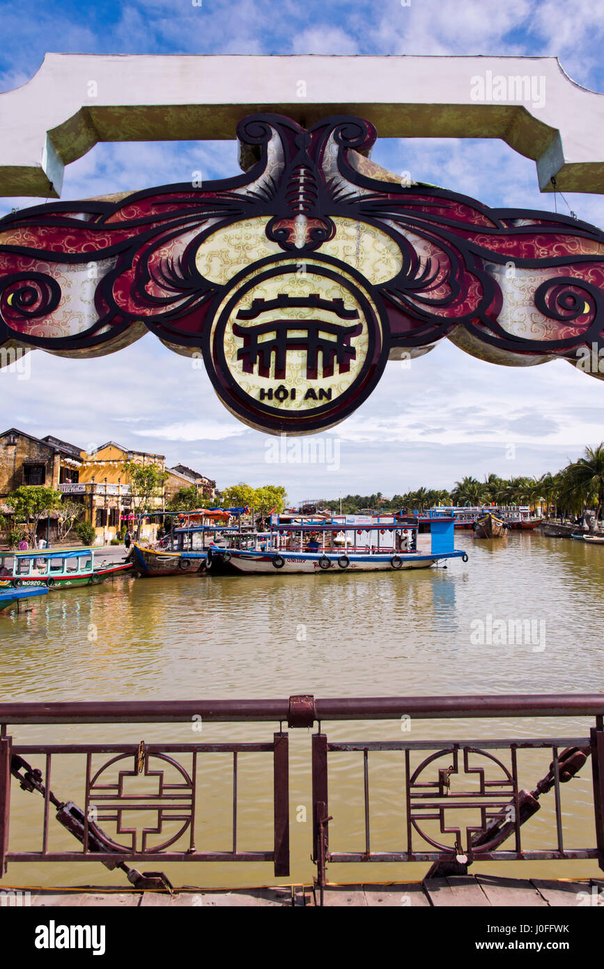 Vertical view of the An Hoi bridge in Hoi An, Vietnam. - Stock Image