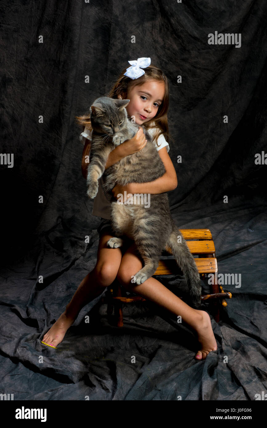 little girl modeling in studio brown background siting on a wood chair holding cat Stock Photo