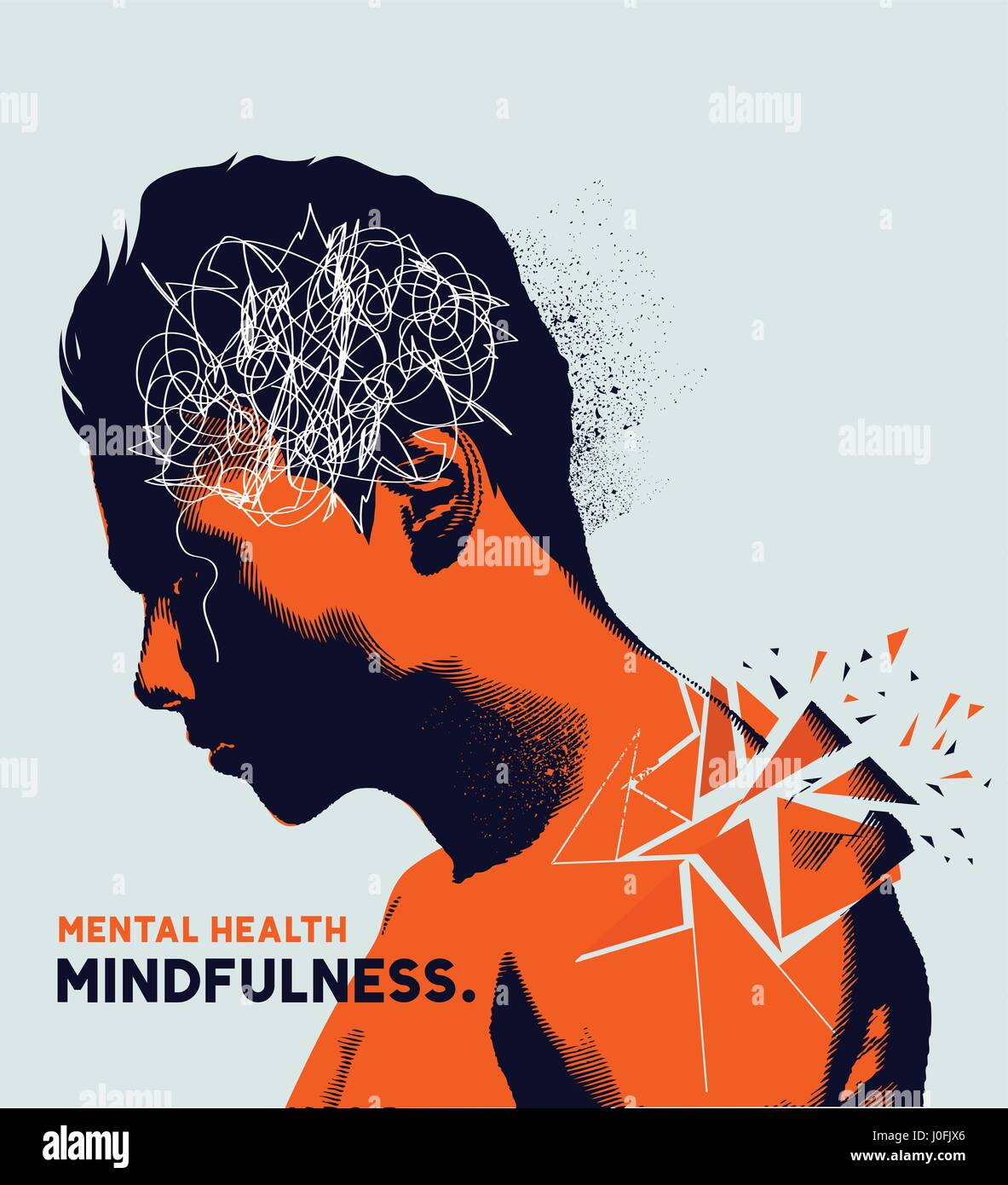A man with his head lowered shattering showing mental health issues. Anxiety, depression and mindfulness awareness - Stock Image