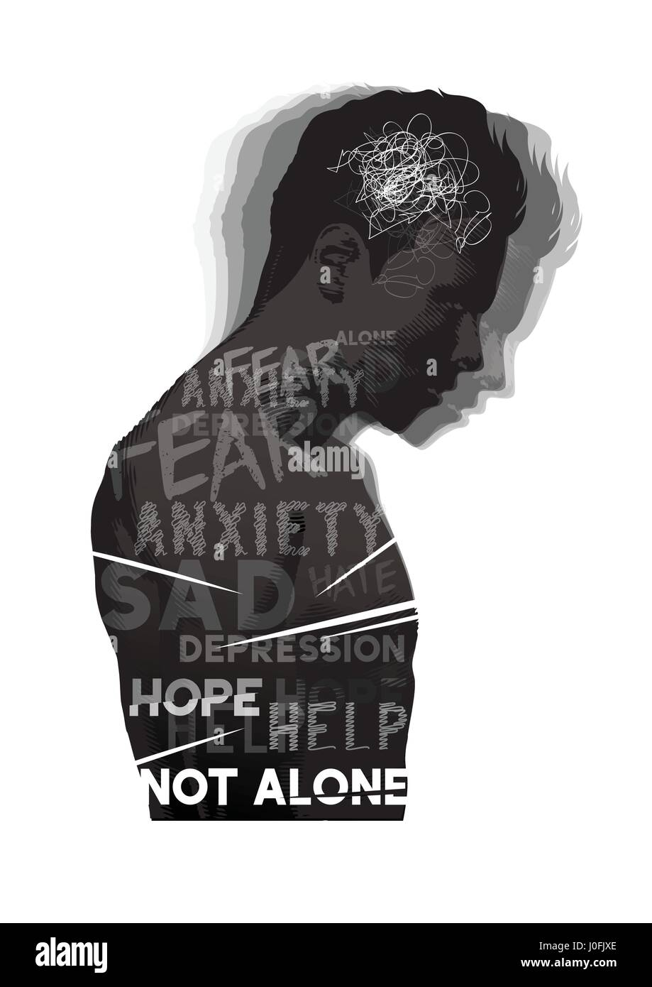 A man experiencing feelings of fear, anxiety and depression. Mental Health vector illustration. - Stock Image