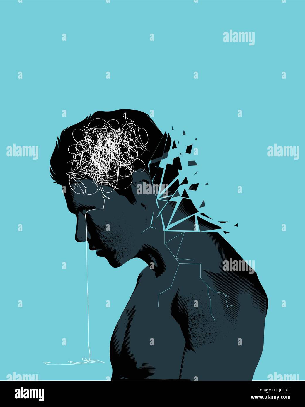 A man with his head lowered shattering showing mental health issues. Anxiety, depression and mindfulness awareness - Stock Vector