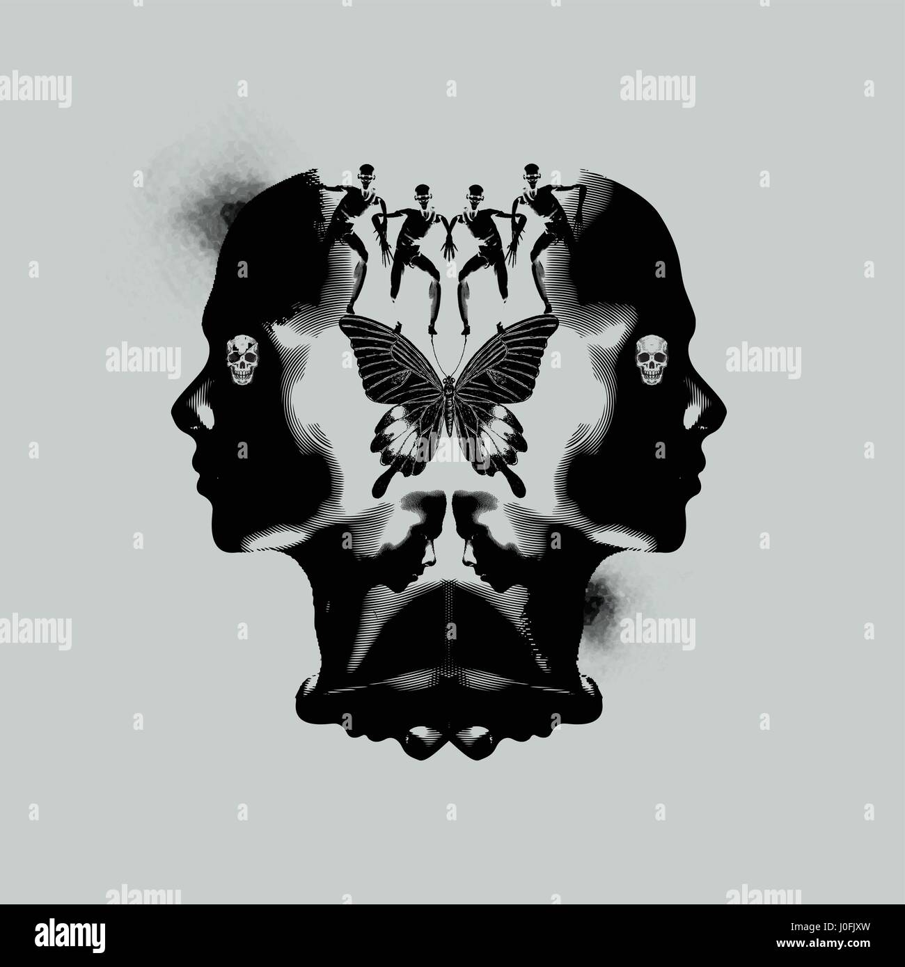 The human mind, thinking and emotional abstract illustration with dark ink stains. - Stock Image