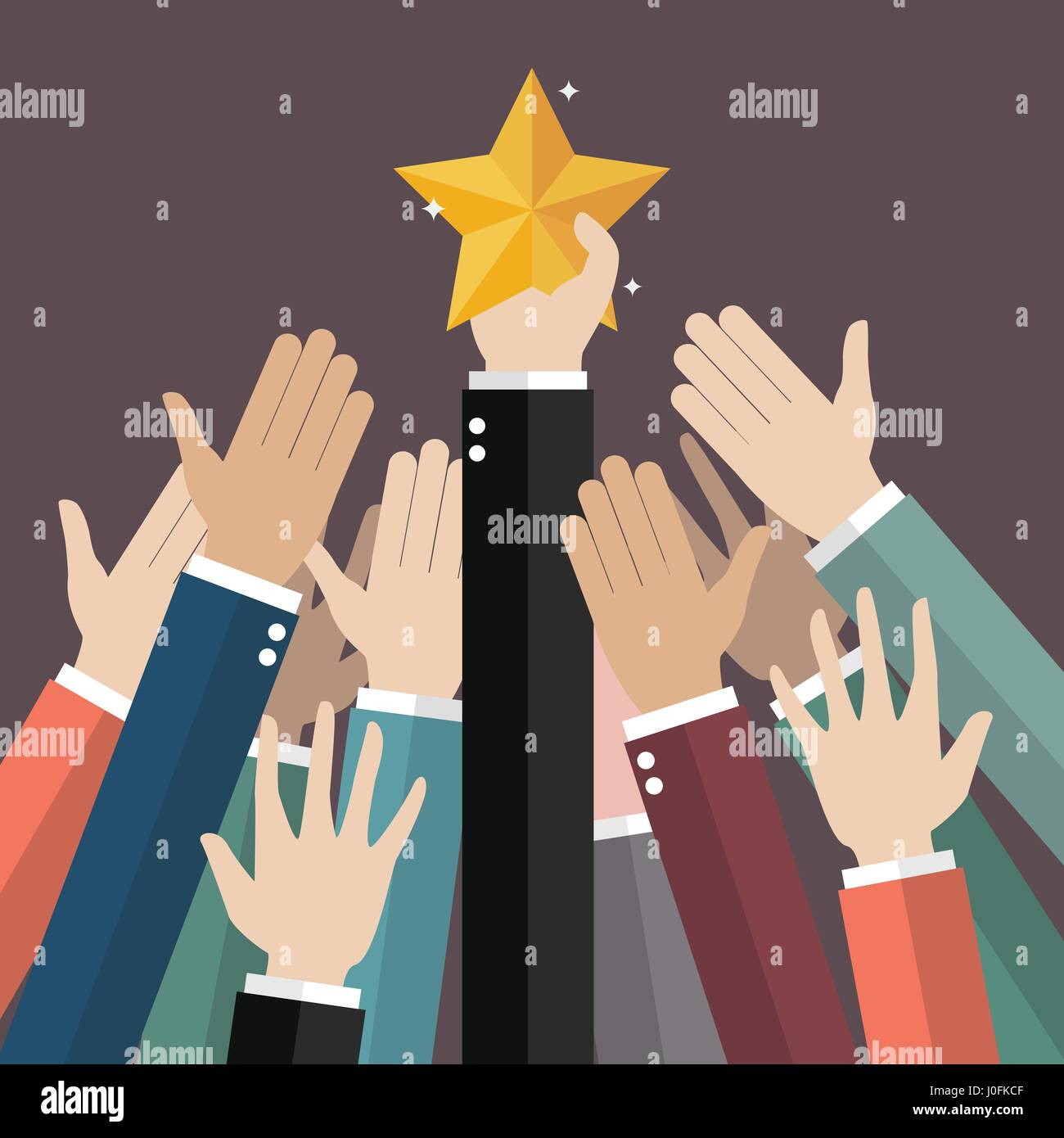 Group of hand reaching for the star. Vector illustration - Stock Vector