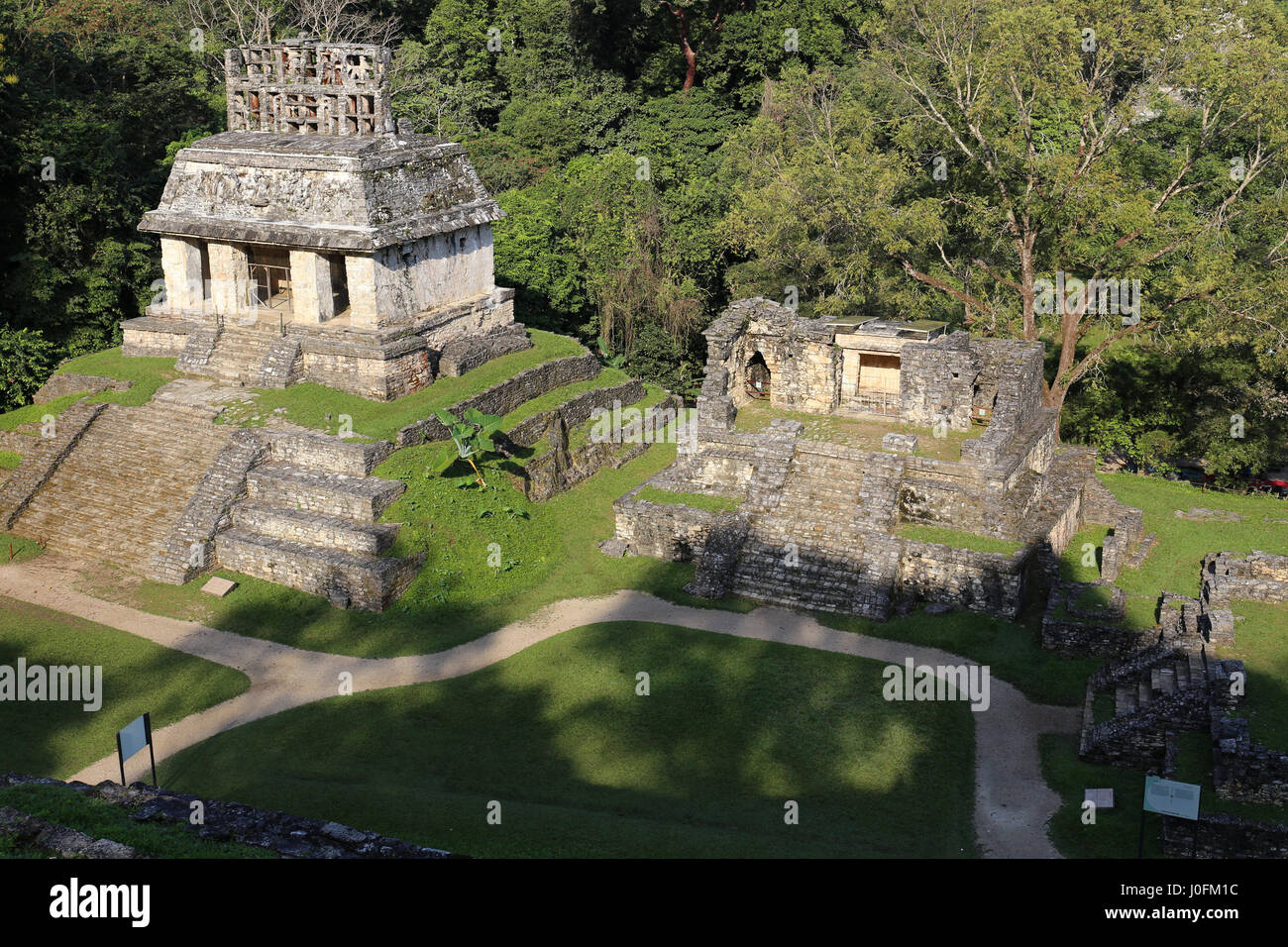 Mayan ruins in Palenque, Chiapas, Mexico. It is one of the best preserved sites, which contains interesting architecture - Stock Image