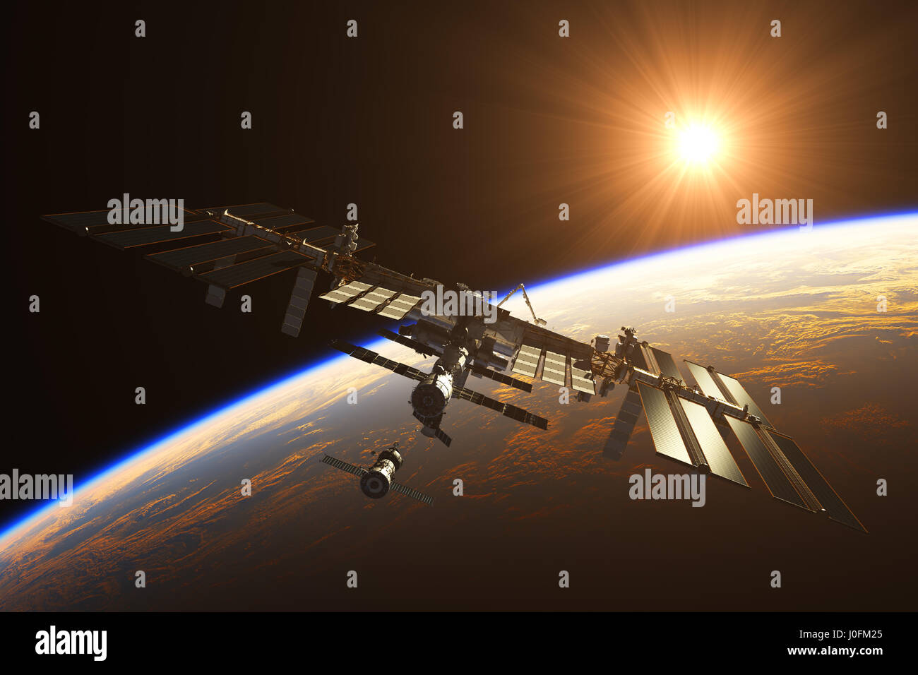 International Space Station On The Background Of Rising Sun. 3D Illustration. - Stock Image