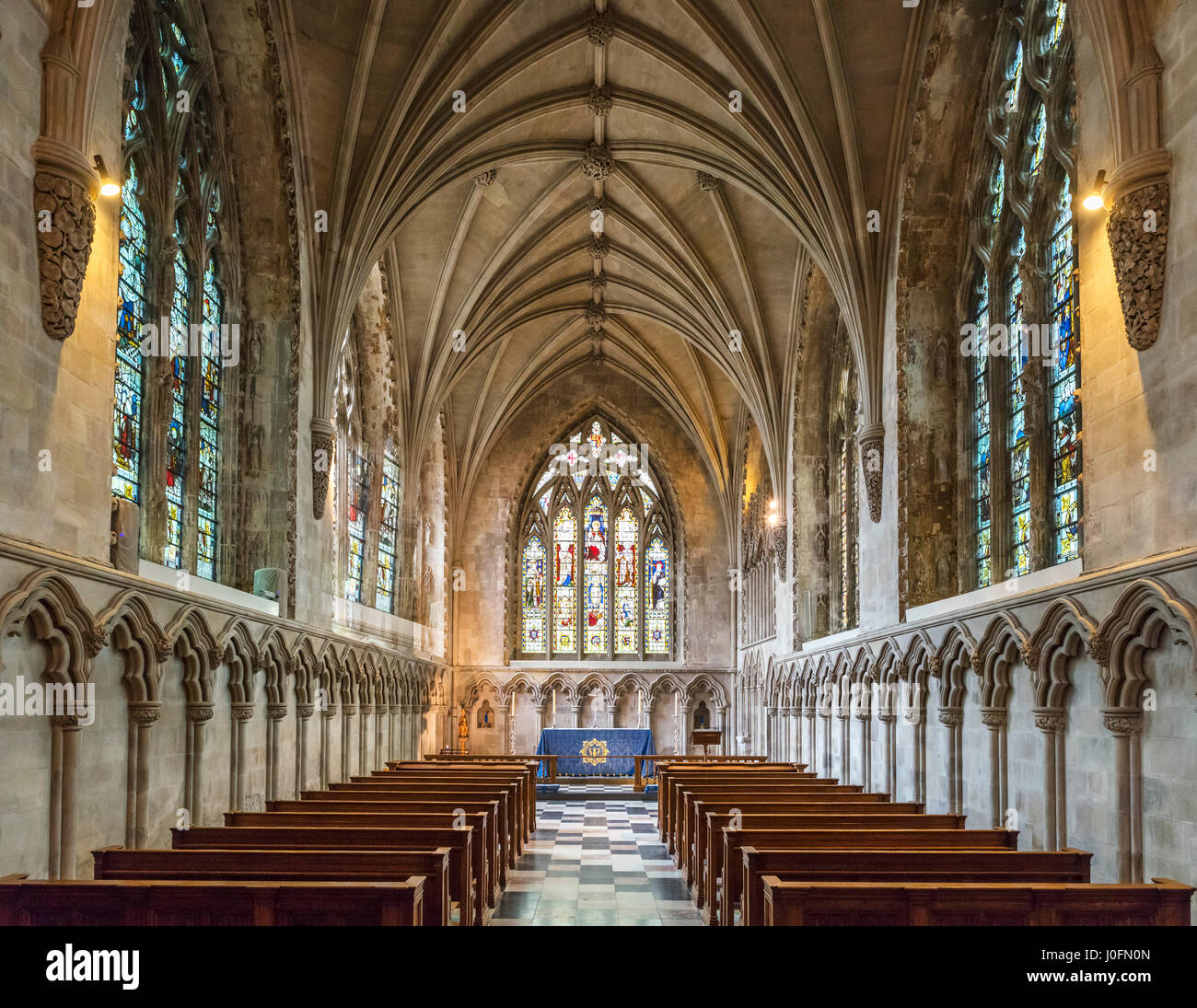 St Albans Cathedral. Medieval 14th century Lady Chapel in the Cathedral and Abbey Church of St Alban, St Albans, - Stock Image