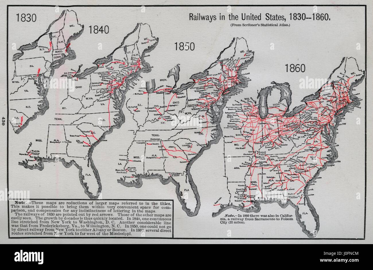 Railways In The United States 1830 1840 1850 And 1860 A Map - Us-map-in-1840