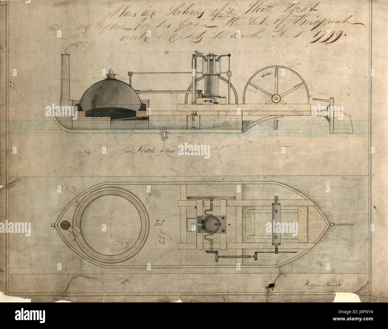 Sketch of a steamboat for the Bridgewater canal, 1799 - Stock Image