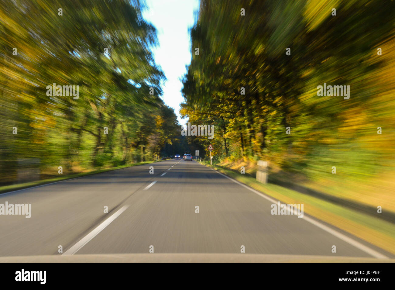 Dangerous situation in traffic during autumn - Stock Image