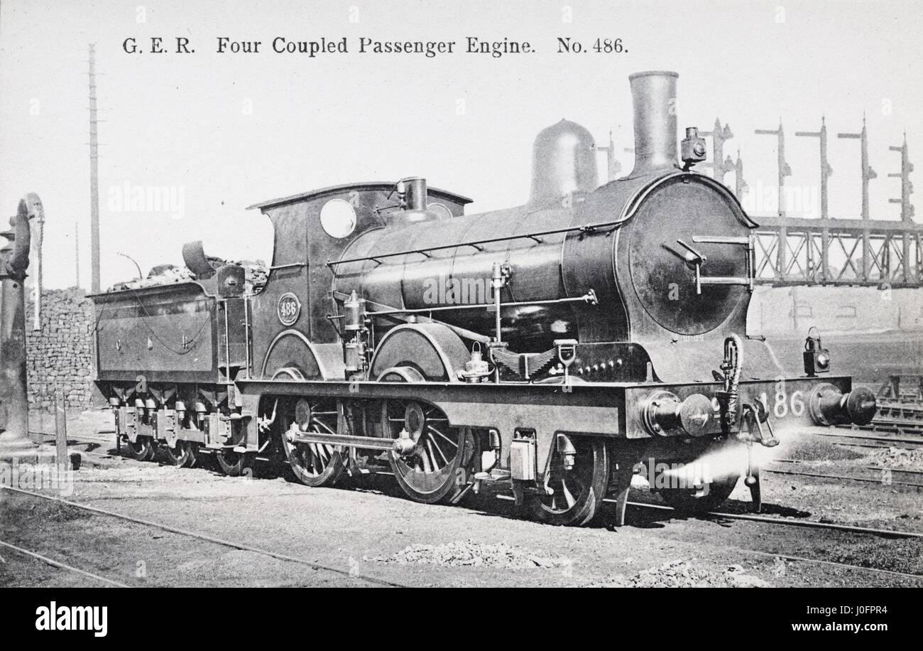 Locomotive no 486: 2-4-0 [four coupled] passenger Express - Stock Image