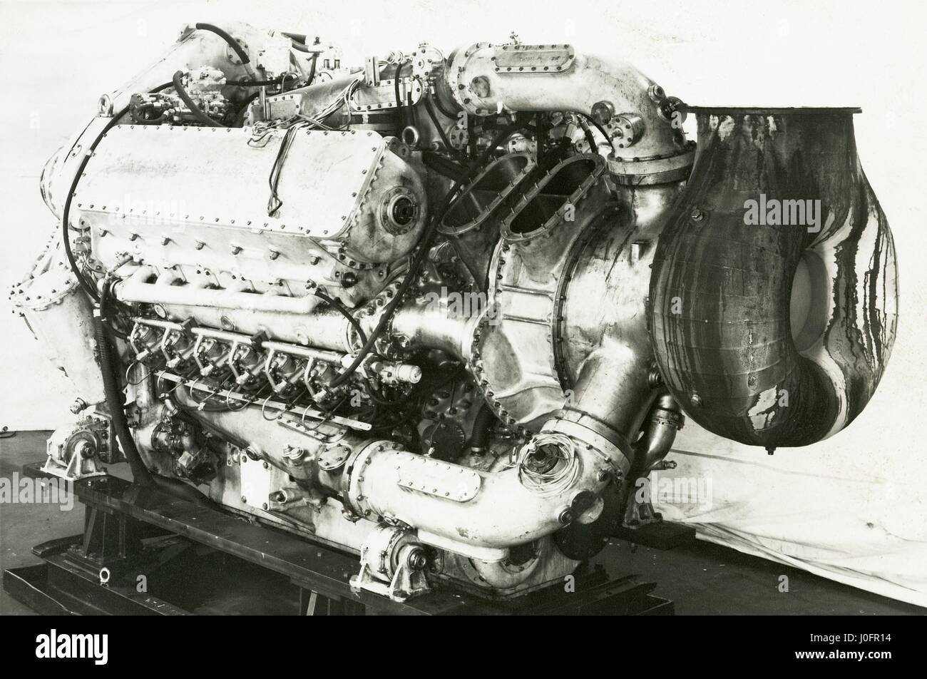 Napier Deltic Marine MTB engine, geared turbo blown - Stock Image