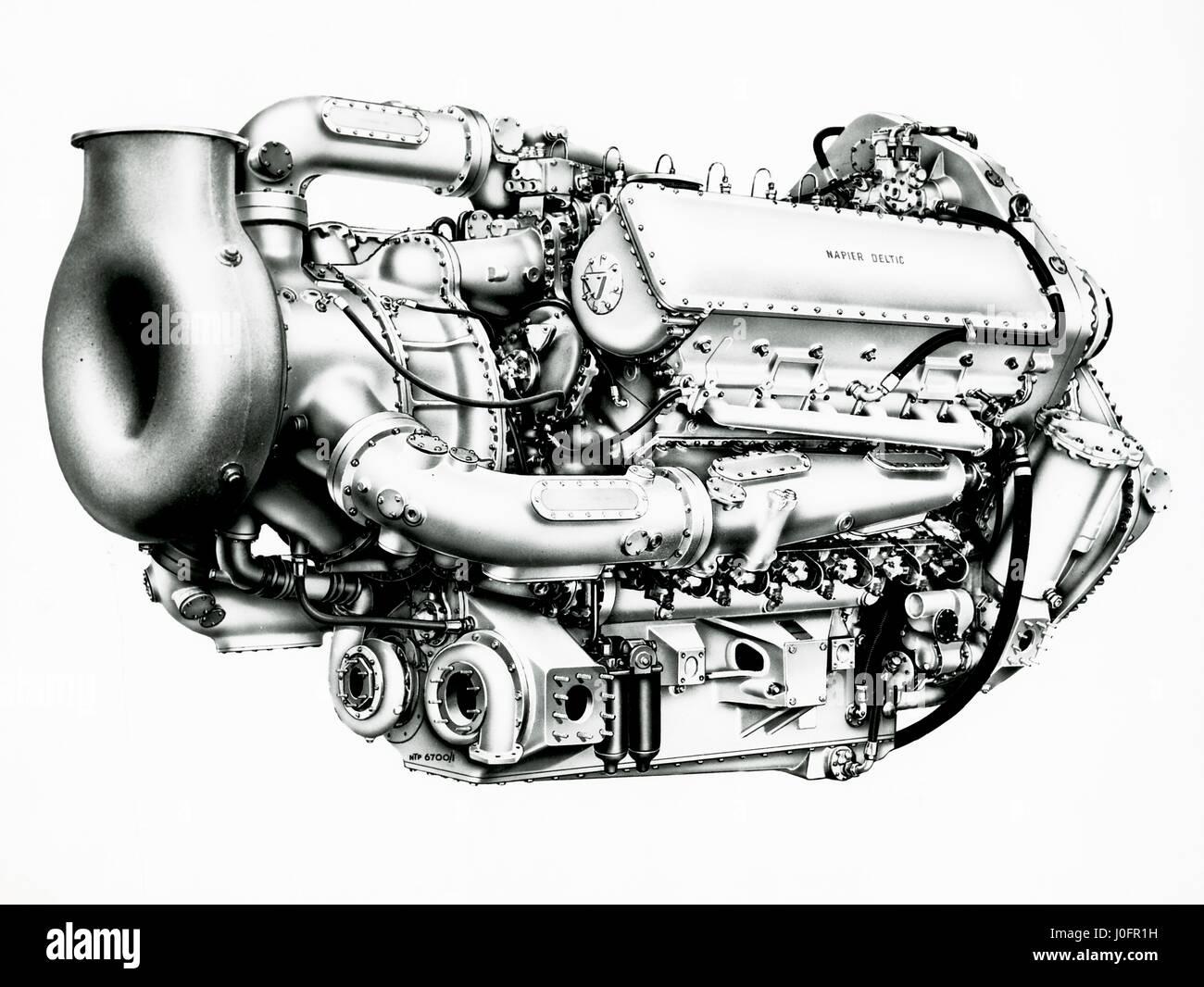 Napier Deltic Marine MTB engine, geared turbo blown - Stock Image