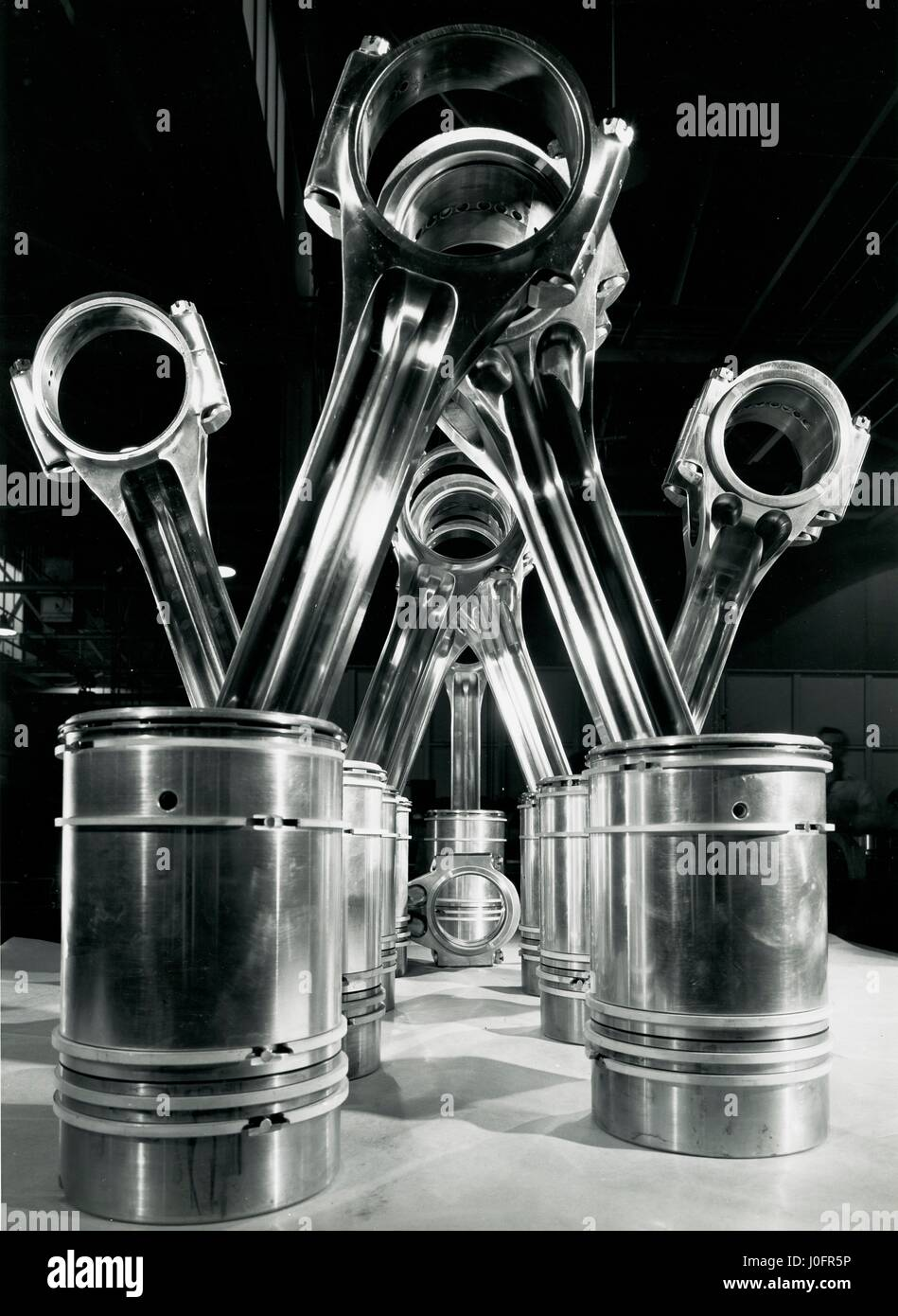 Connecting rods and pistons which transmit power for the 3000 hp Deltic engine Stock Photo
