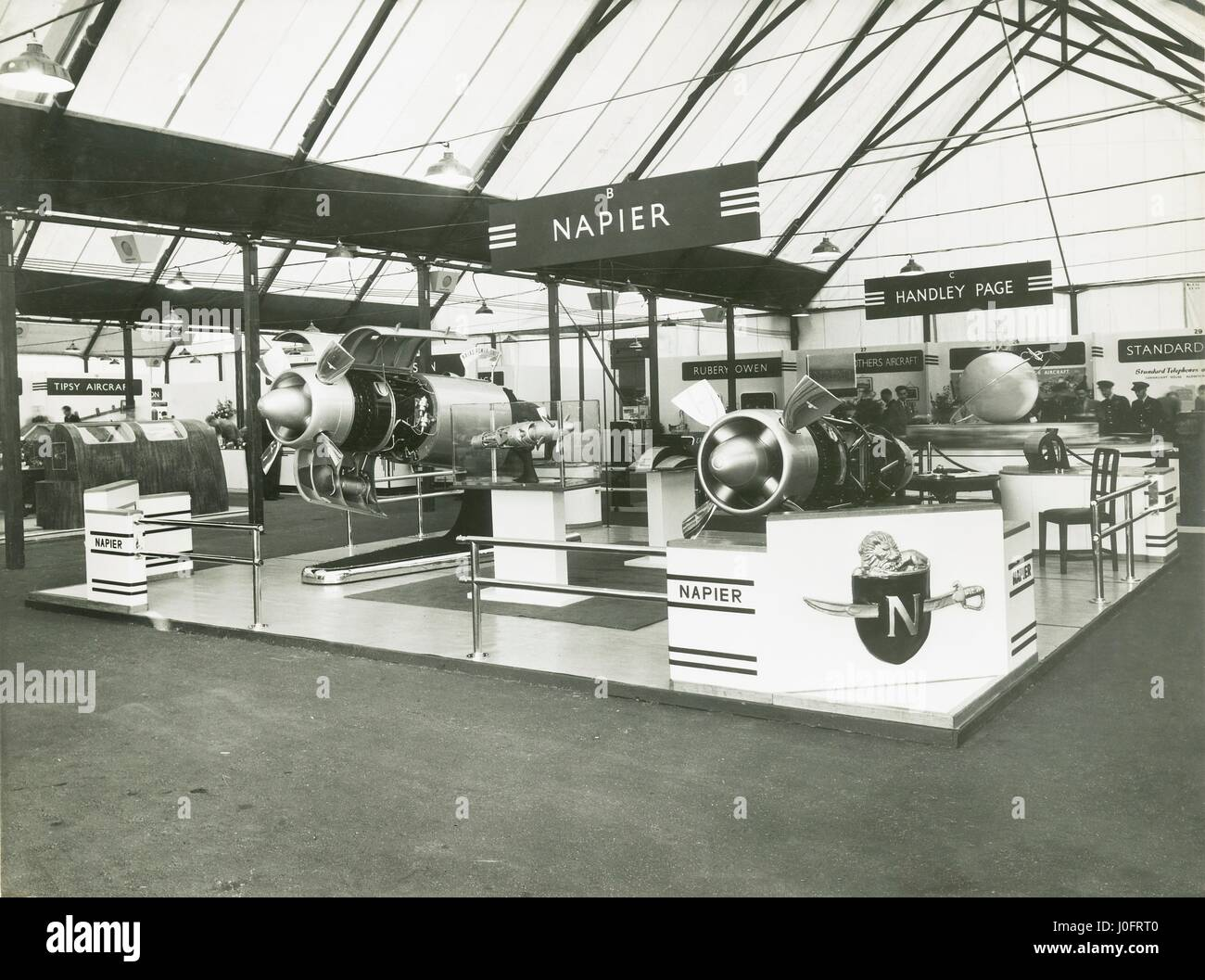 Naiad turboprop engine on display at the Napier stand, Radlett Air Show, 1948 - Stock Image