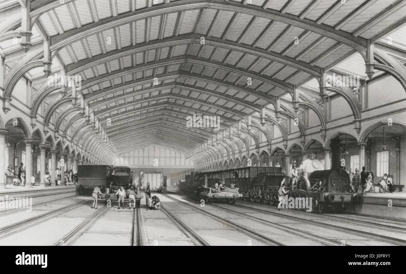 Inside Bristol station, Great Western Railway Stock Photo