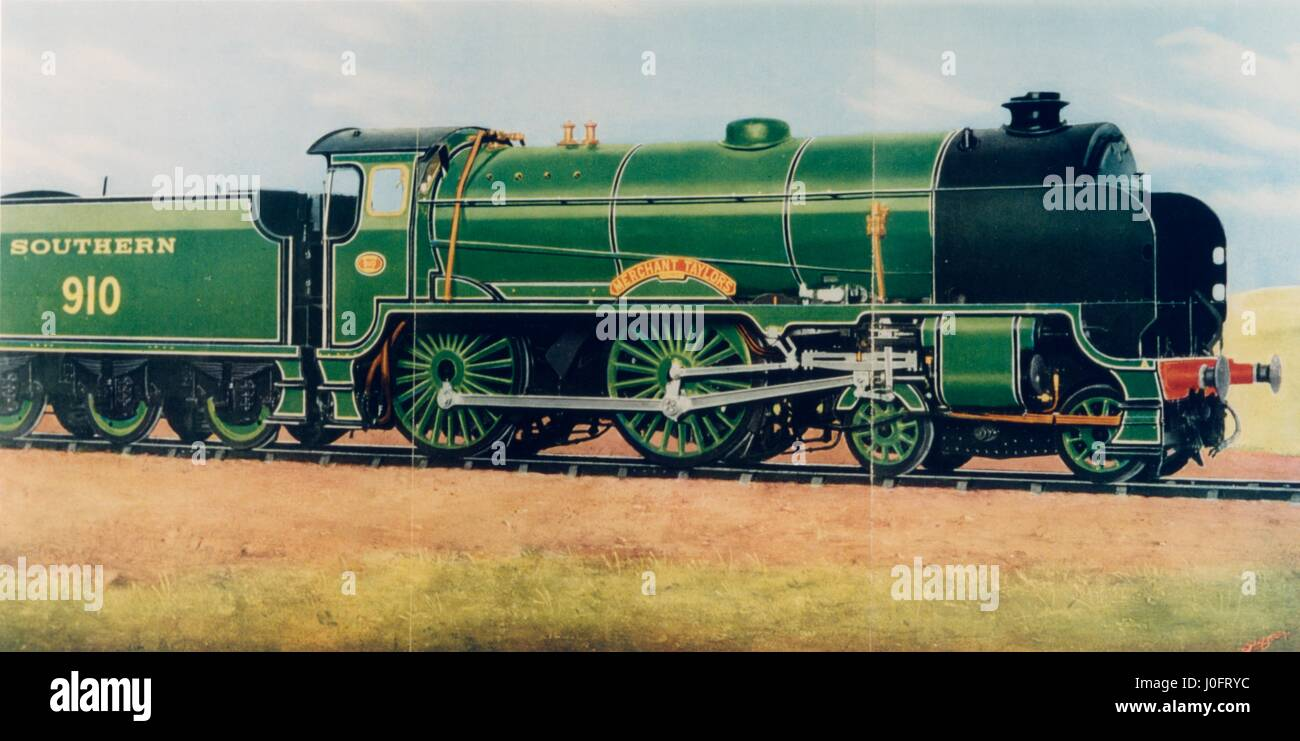 Merchant Taylors, 3 cylinder Express locomotive designed by R E L Maunsell, built at Eastleigh Works - Stock Image
