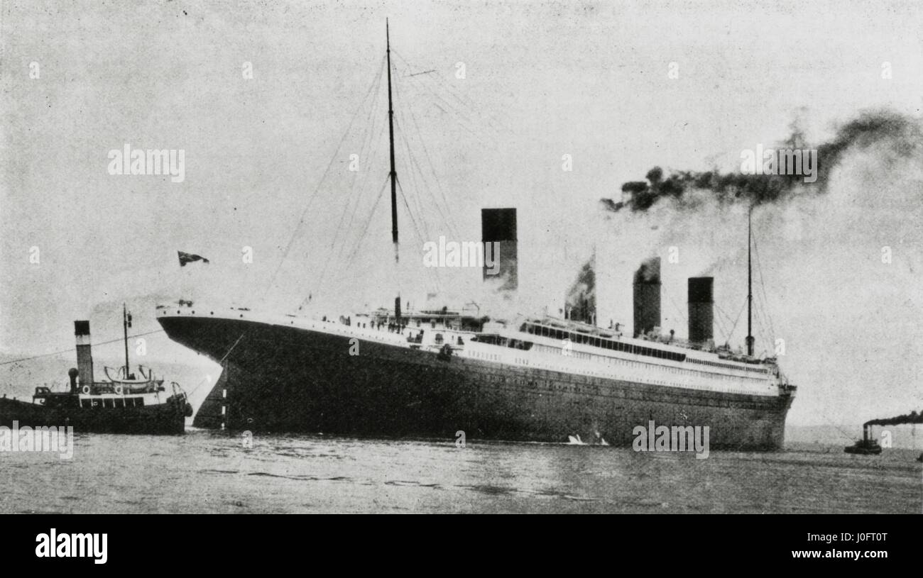 The Titanic leaving Belfast for Southampton - Stock Image