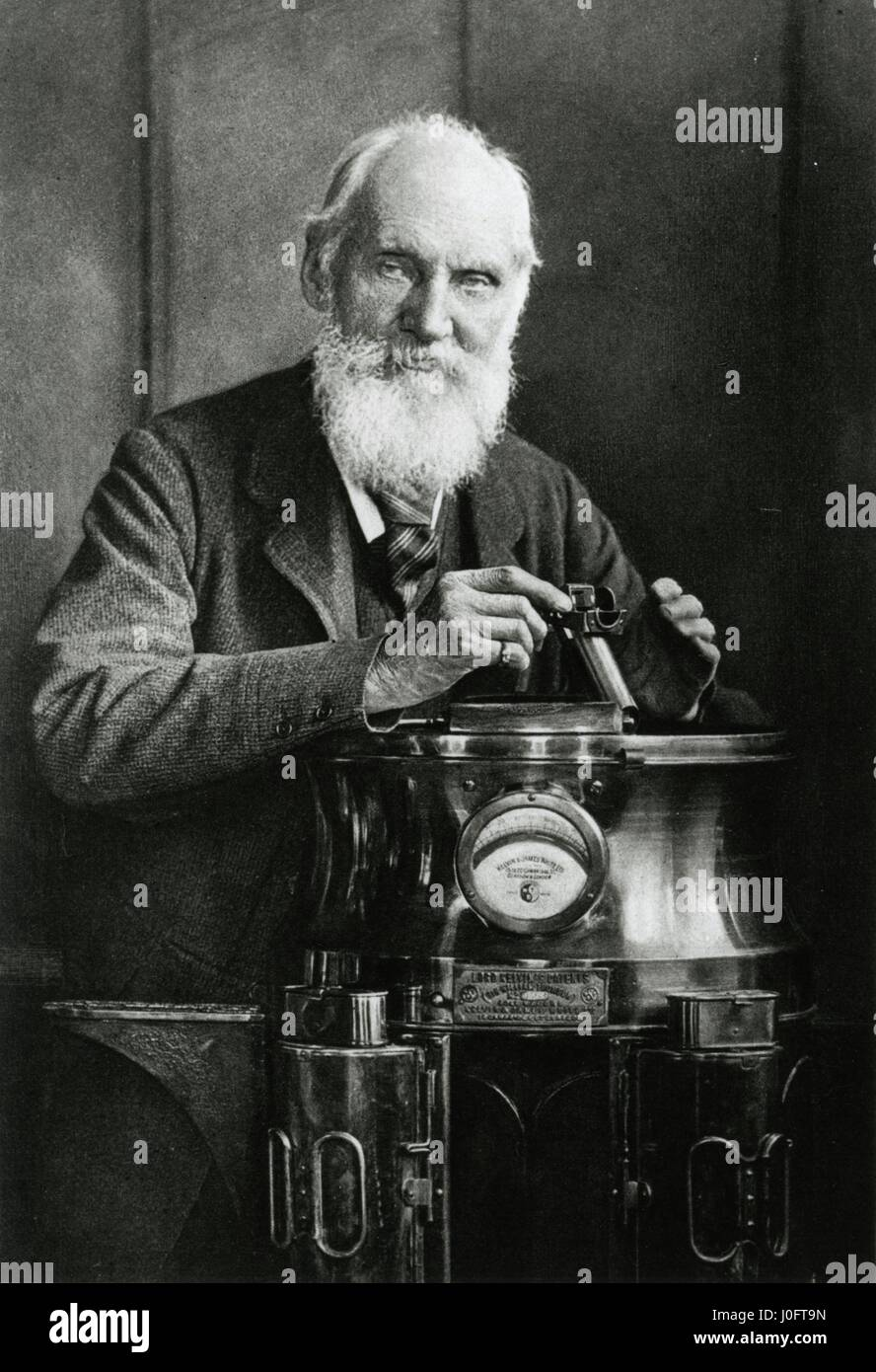 Lord Kelvin (1824-1907) and his compass, Glasgow - Stock Image