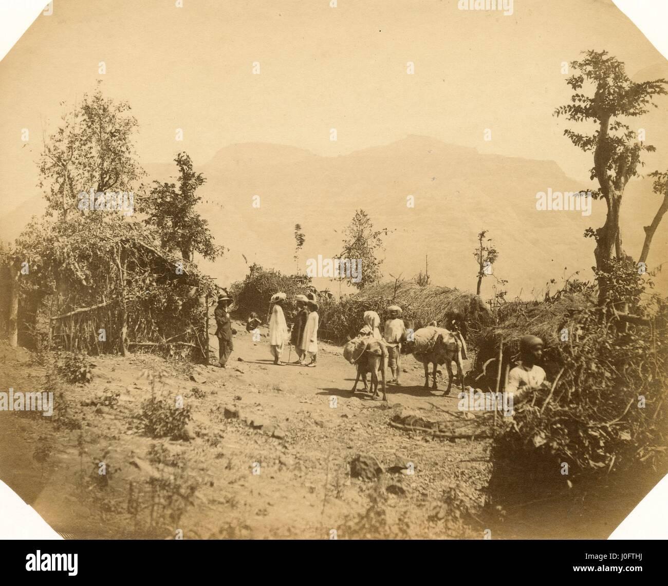 Village of Gambir Nath; workmen's huts; Rajmuchee Forts; at 7 1/2 miles - Stock Image